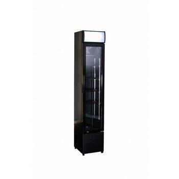 Smalle zwarte koelkast | glazen deur | 105L | (H)188x(B)36x(D)42,2