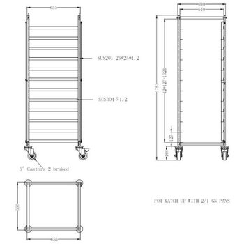 Regaalwagen | flat pack | 2/1GN | 12 atages
