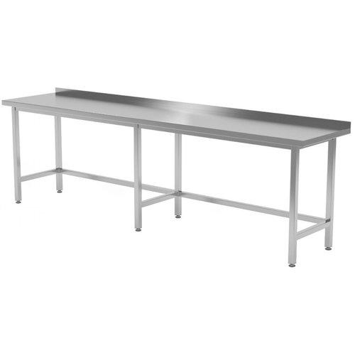 Werktafel met verstevigd onderstel en spatrand | Breedte 2000-2800mm | Diepte 600-700mm | 18 opties