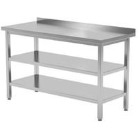 Werktafel met dubbel onderblad en spatrand | Breedte 400-1900mm | Diepte 600-700mm | 32 opties