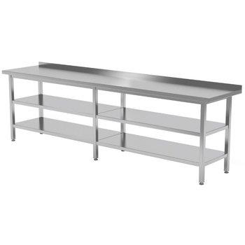 Werktafel met dubbel onderblad en spatrand | Breedte 2000-2800mm | Diepte 600-700mm | 18 opties