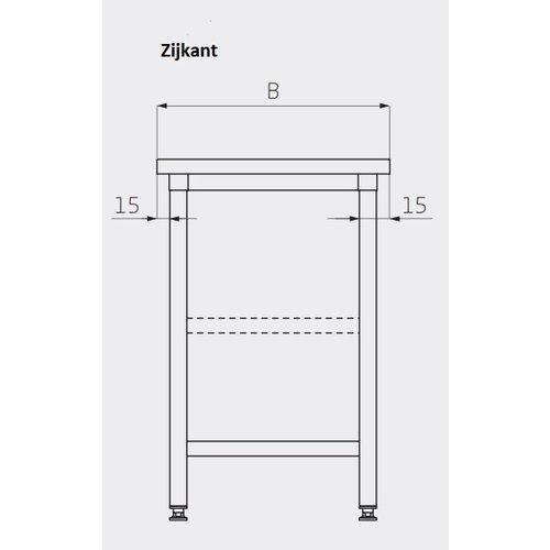 Centrale werktafel met extra versteviging | Breedte 800-1900mm | Diepte 700-800mm | 24 opties