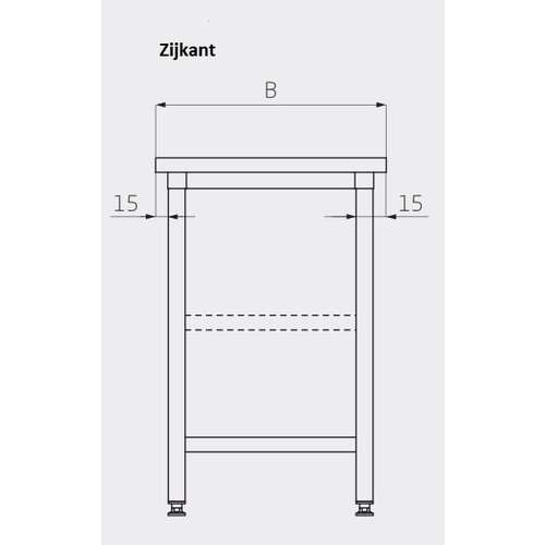Centrale werktafel met onderblad   Breedte 800-1900mm   Diepte 700-800mm   24 opties