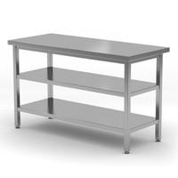 Centrale werktafel met dubbel onderblad | Breedte 800-1900mm | Diepte 700-800mm | 24 opties