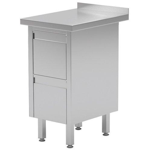 Werktafel met lades en spatrand | 2-6 lades | Breedte 430-830mm | Diepte 600-700mm | 8 opties