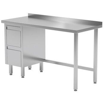 Werktafel met 2 lades links en spatrand | Breedte 800-1900mm | Diepte 600-700mm | 24 opties