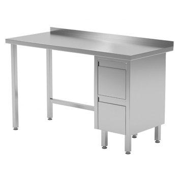 Werktafel met 2 lades rechts en spatrand | Breedte 800-1900mm | Diepte 600-700mm | 24 opties