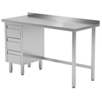 Werktafel met 3 lades links en spatrand | Breedte 800-1900mm | Diepte 600-700mm | 24 opties