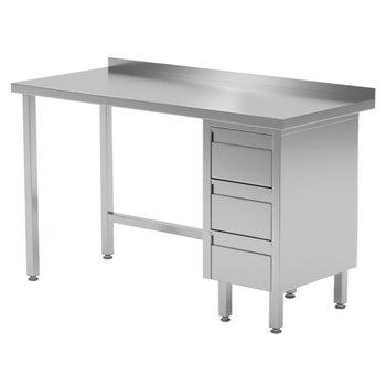 Werktafel met 3 lades rechts en spatrand | Breedte 800-1900mm | Diepte 600-700mm | 24 opties