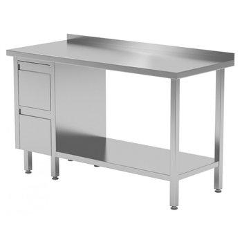 Werktafel met 2 lades links, onderblad en spatrand | Breedte 800-1900mm | Diepte 600-700mm | 24 opties