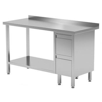 Werktafel met 2 lades rechts, onderblad en spatrand | Breedte 800-1900mm | Diepte 600-700mm | 24 opties