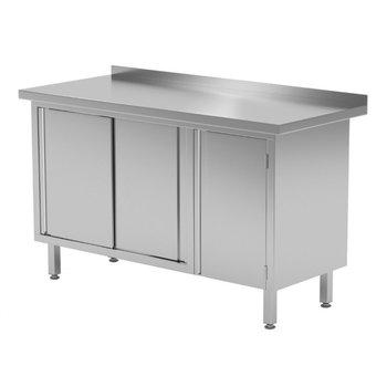 Werkbank met klapdeur rechts. schuifdeuren en spatrand | Breedte 1200-1900mm | Diepte 600-700mm | 16 opties