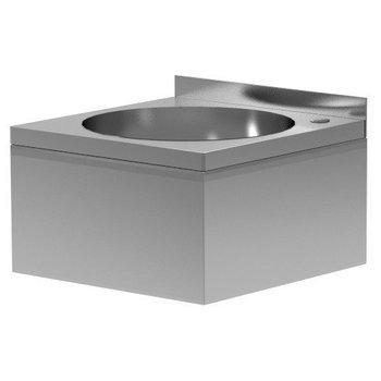 RVS wasbak inbouwmodel met ombouw | Breedte 400mm | Diepte 400mm | Ronde bak Ø330mm
