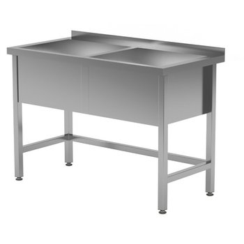 RVS wastafel met 2 grote spoelbakken 300mm hoog | Breedte 1200-1600mm | Diepte 600-700mm | 10 opties