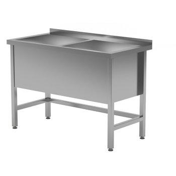 RVS wastafel met 2 grote spoelbakken 400mm hoog | Breedte 1200-1600mm | Diepte 600-700mm | 10 opties