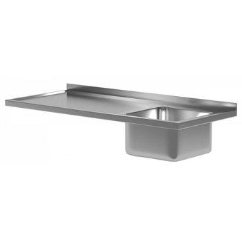 Werkblad met waterkering, wasbak en spatrand | Breedte 800-2800 | Diepte 600-700mm | 42 opties