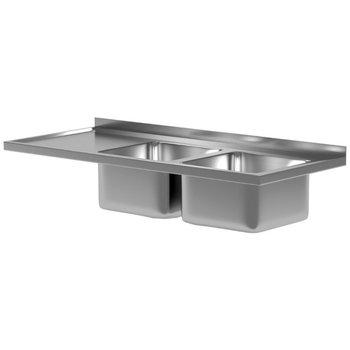 Werkblad met waterkering, dubbele wasbak en spatrand | Breedte 1100-2800 | Diepte 600-700mm | 36 opties