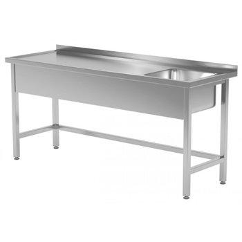RVS wastafel met spoelbak rechts | Breedte 1200-1900mm | Diepte 600-700mm | 16 opties