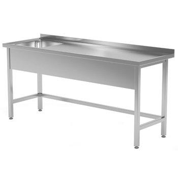 RVS wastafel met spoelbak links | Breedte 1200-1900mm | Diepte 600-700mm | 16 opties