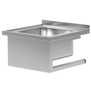 RVS wasbak met muurbevestiging | Breedte 600-700mm | Diepte 600-700mm | 4 opties