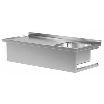 Tafel met wandmontage en wasbak rechts | Breedte 800-1600mm | Diepte 600-700mm | 18 opties