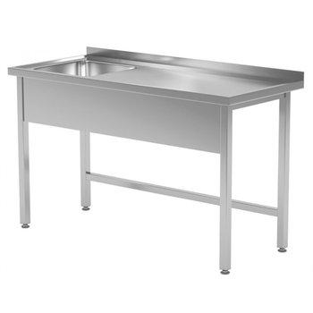 RVS tafel met spoelbak links | Breedte 800-1900mm | Diepte 600-700mm | 24 opties