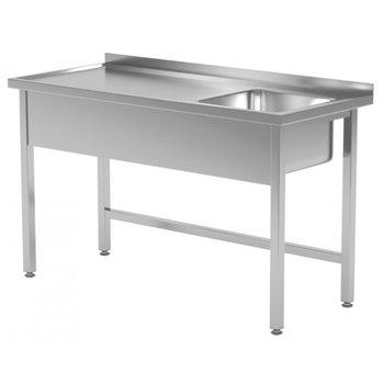 RVS tafel met spoelbak rechts | Breedte 800-1900mm | Diepte 600-700mm | 24 opties