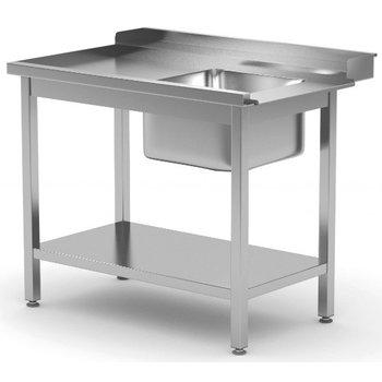 Aanvoertafel met onderblad en spoelbak | Links van machine | Breedte 800-1400mm | Diepte 700-760mm | 14 opties