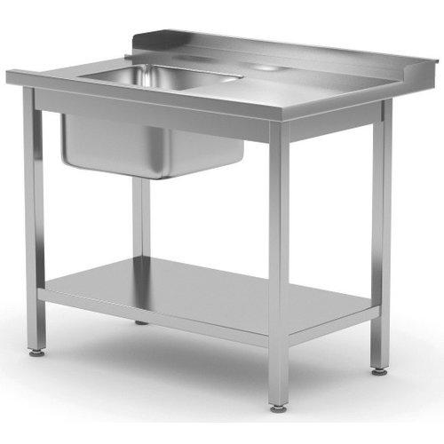 Aanvoertafel met onderblad en spoelbak | Rechts van machine | Breedte 800-1400mm | Diepte 700-760mm | 14 opties