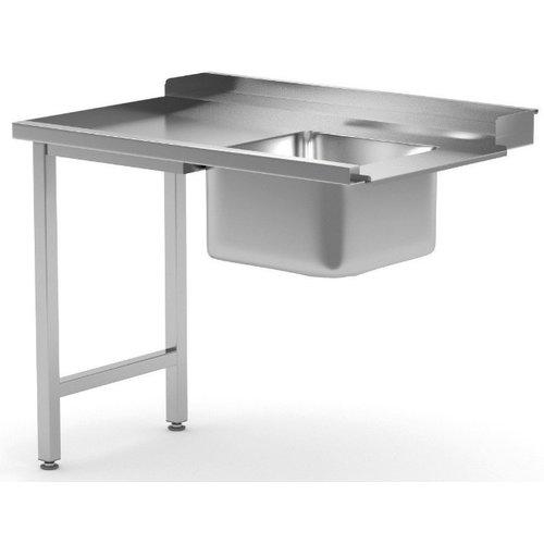 Aanvoertafel met spoelbak | Links van machine | Breedte 600-1400mm | Diepte 700-760mm | 18 opties