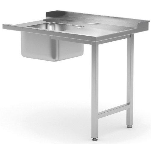 Aanvoertafel met spoelbak | Rechts van machine | Breedte 600-1400mm | Diepte 700-760mm | 18 opties
