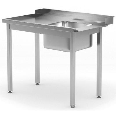 Aanvoertafel met spoelbak | Links van machine | Breedte 800-1400mm | Diepte 700-760mm | 14 opties