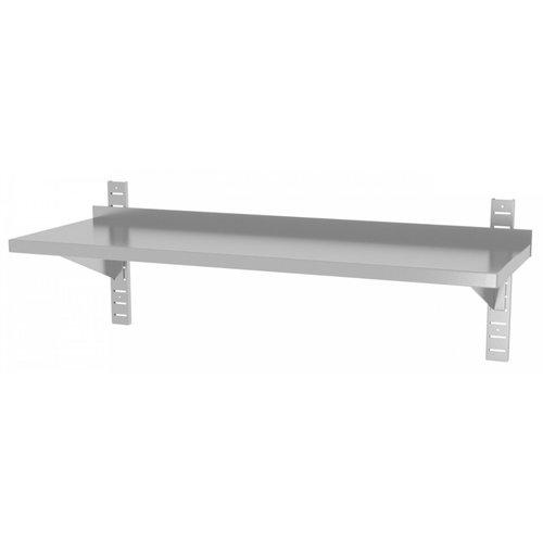 RVS wandplank in hoogte verstelbaar | 2 dragers | Breedte 600-1500mm | Diepte 300-400mm | 20 opties