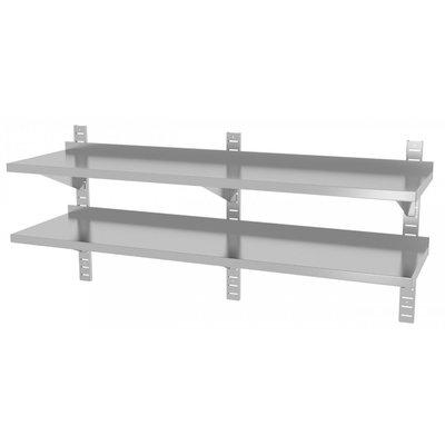 Twee wandplanken in hoogte verstelbaar | 3 dragers | Breedte 1600-2000mm | Diepte 300-400mm | 10 opties