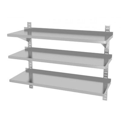 Drie wandplanken in hoogte verstelbaar | 2 dragers | Breedte 600-1500mm | Diepte 300-400mm | 20 opties