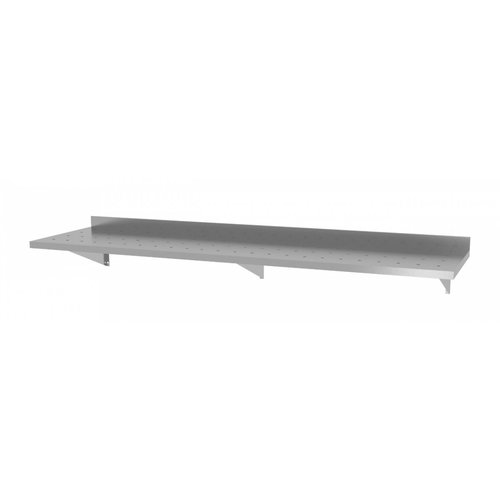 Geperforeerde wandplank met 3 beugels | Breedte 1600-2000mm |Diepte 300-400mm | 10 opties