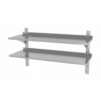 Twee geperforeerde wandplanken | Hoogte verstelbaar | 2 dragers | Breedte 600-1500mm | Diepte 300-400mm | 20 opties