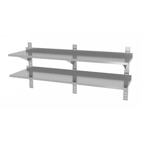 Twee geperforeerde wandplanken | Hoogte verstelbaar | 3 dragers | Breedte 1600-2000mm | Diepte 300-400mm | 10 opties
