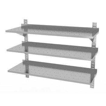 Drie geperforeerde wandplanken | Hoogte verstelbaar | 2 dragers | Breedte 600-1500mm | Diepte 300-400mm | 20 opties