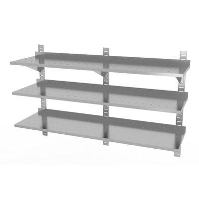 Drie geperforeerde wandplanken | Hoogte verstelbaar | 3 dragers | Breedte 1600-2000mm | Diepte 300-400mm | 10 opties