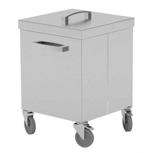 Verrijdbare afvalbak RVS | 68-89 liter inhoud | Breedte 400-500mm | Diepte 500mm | 2 opties