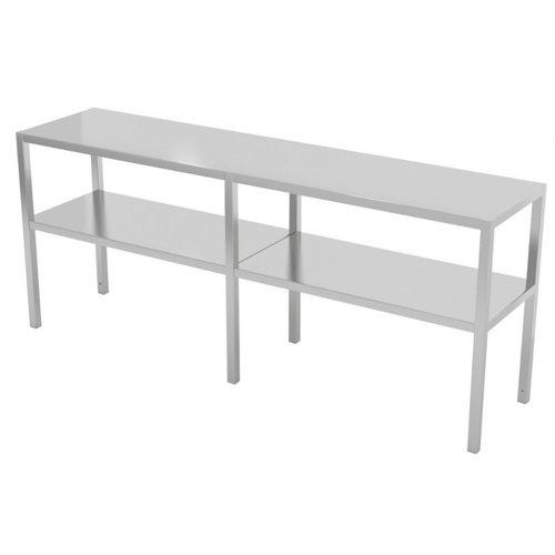 RVS etagère met 2 niveaus | Breedte 1500-1900mm | Diepte 300-400mm | 10 opties