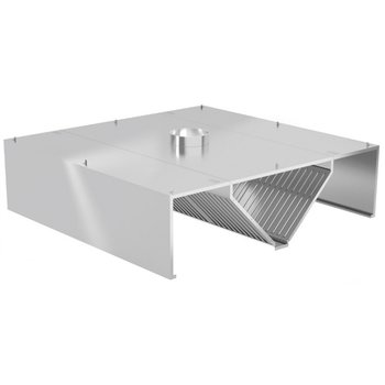 Centrale afzuigkap recht model | Inclusief filters | Breedte 1000-5000mm | Diepte 1400-2400mm | 287 opties