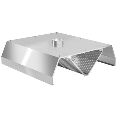 Centrale afzuigkap trapezium model | Inclusief filters | Breedte 1000-5000mm | Diepte 1600-2400mm | 205 opties