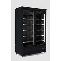 Combisteel Zwarte koelkast met 2 glazen deuren | Side-by-side | 1000L | (H)199,7x(B)125,3x(D)71cm