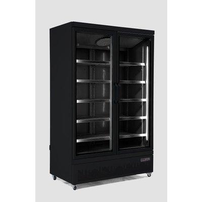 Zwarte koelkast met 2 glazen deuren | Side-by-side | 1000L | (H)199,7x(B)125,3x(D)71cm