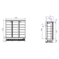 Combisteel Zwarte koelkast met 3 glazen deuren | Side-by-side | 1530L | (H)199,7x(B)188x(D)71cm