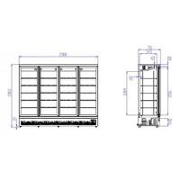 Combisteel Zwarte koelkast met 4 glazen deuren | Side-by-side | 2025L | (H)199,7x(B)250,8x(D)71cm