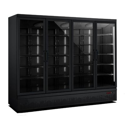 Zwarte koelkast met 4 glazen deuren | Side-by-side | 2025L | (H)199,7x(B)250,8x(D)71cm