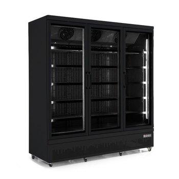 Zwarte vrieskast met 3 glazen deuren | Side-by-side | 1530L | (H)199,7x(B)188x(D)71cm